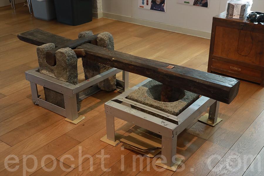 舊時的舂米工具。(陳仲明/大紀元)