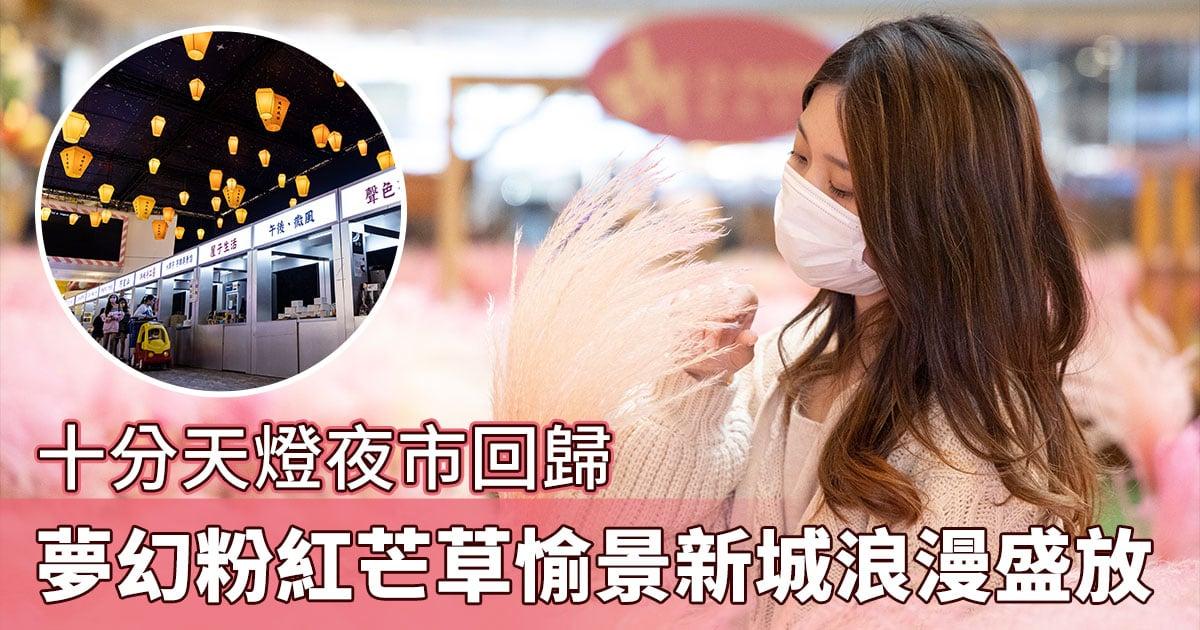在香港亦可置身於粉色花海,夢幻粉紅芒草園愉景新城浪漫登場,「十分天燈夜市」亦再度開放。(陳仲明/大紀元)