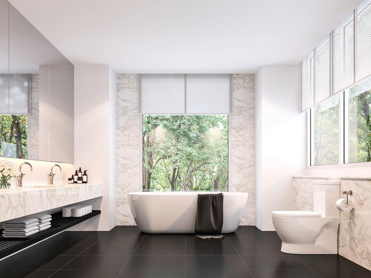 2021年衛浴裝潢的趨勢是採用容易清潔的材質。
