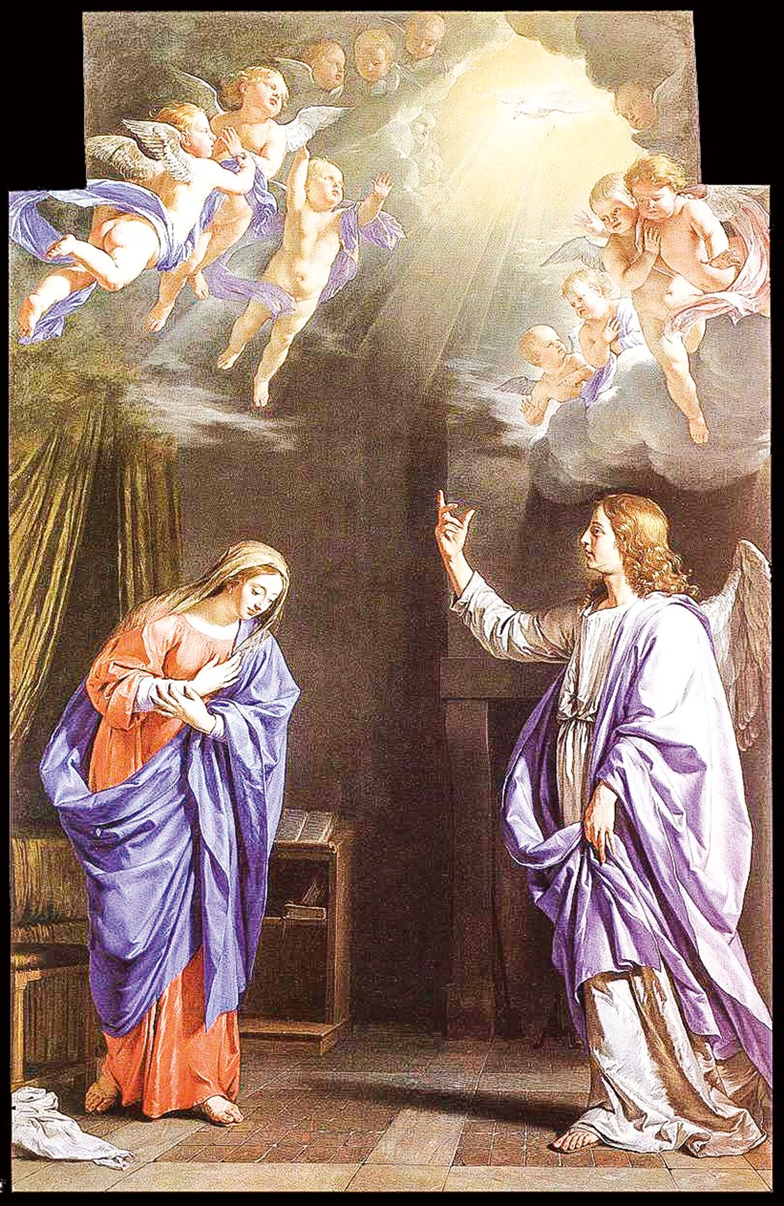 法國古典主義畫家尚拜涅(Philippe de Champaigne)1645年繪製的《天使報喜》。華萊士收藏。(公有領域)