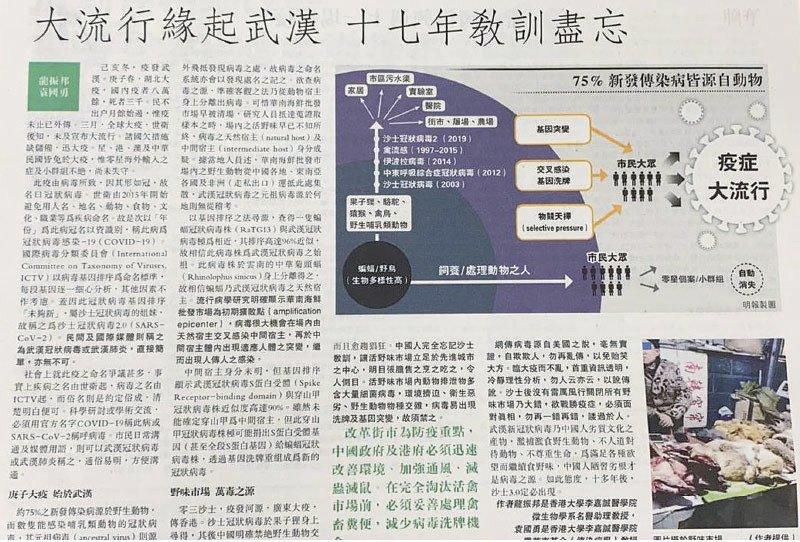 港大醫學院微生物學系講座教授袁國勇,與同系名譽助理教授龍振邦2020年3月28日在《明報》撰文。(大紀元資料圖片)