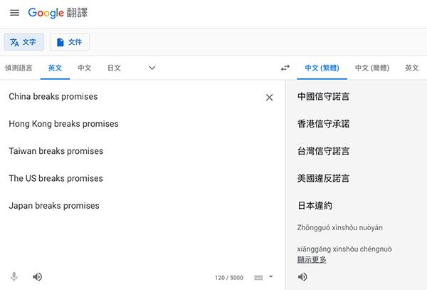 親中政策? 谷歌將中國「違諾」翻譯成守諾