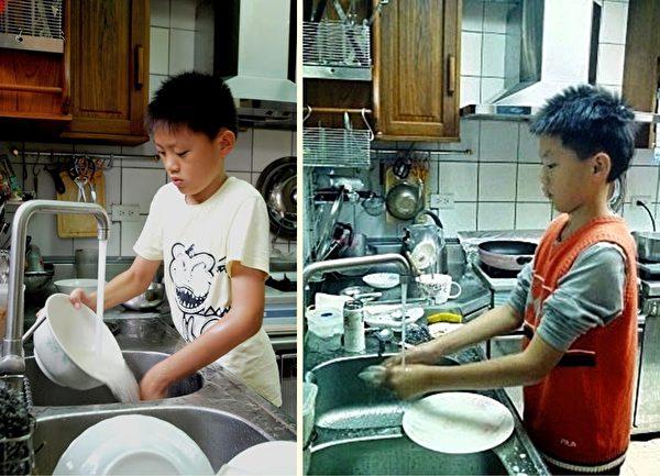不僅女孩,男孩也可以幫忙洗碗。孩子洗碗時大腦也很忙!在杯盤狼藉中分類排序、清廚餘。(林海柔/大紀元)