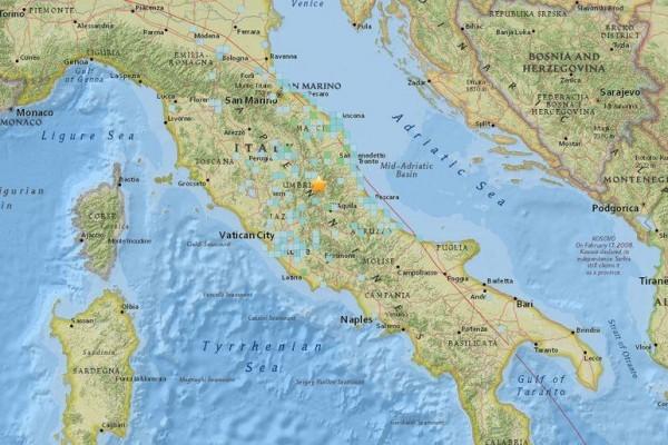 美國地質調查局與法新社記者說,規模6.2級地震24日搖撼意大利中部,約150公里外的羅馬也有感。(圖取自USGS網站earthquake.usgs.gov/)