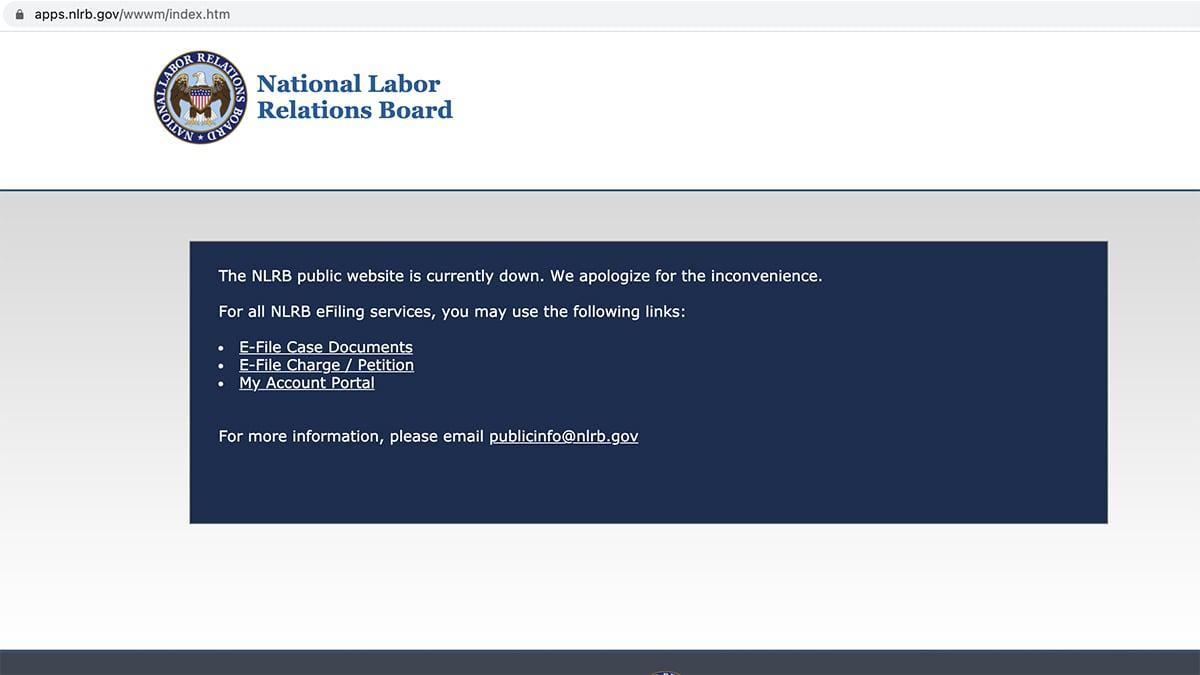 美國華盛頓DC當地時間1月22日晚,國家勞動關係委員會(National Labor Relations Board)官方網站關閉。(網頁截圖)