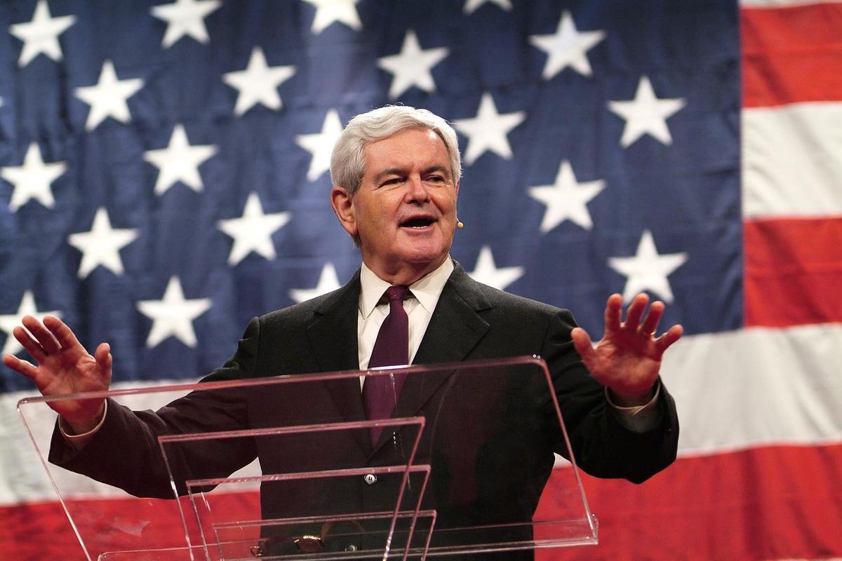 金里奇在《霍士》網站發表評論,批評賀錦麗的作為。圖為政評家金里奇。(Newt Gingrich臉書)