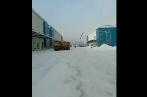 1月23日,吉林通化市在港務區內保稅物流中心建方艙隔離房。(視頻截圖)
