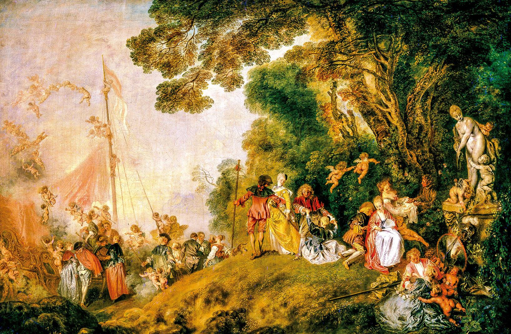安東尼華多(Antoine Watteau)1717 年繪製的洛可可風格《在西瑟拉島上的朝聖》(Pilgrimage on the Isle of Cythera)。(公有領域)