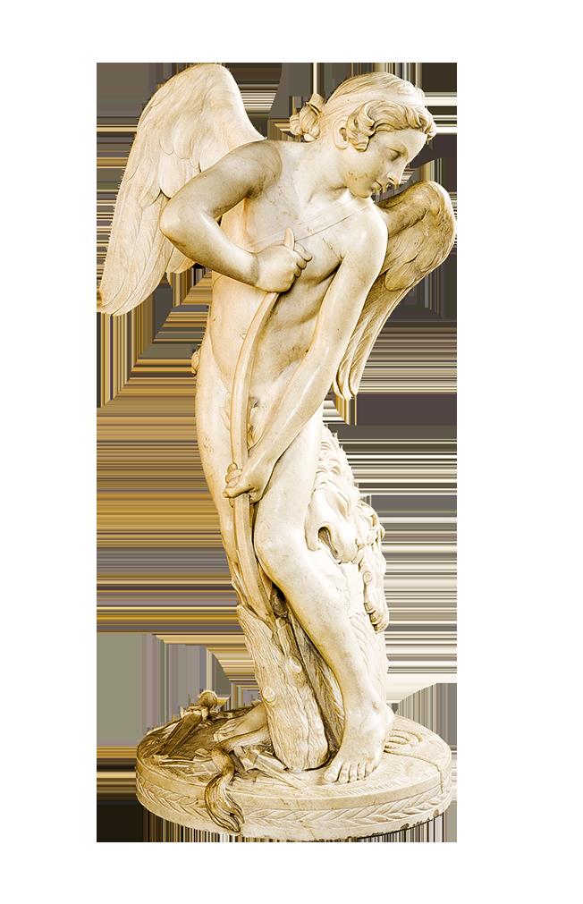 法國雕塑家Edmé Bouchardon洛可可風雕塑作品《丘比特》Cupid (EdmeBouchardon),國家美術館收藏。(公有領域)