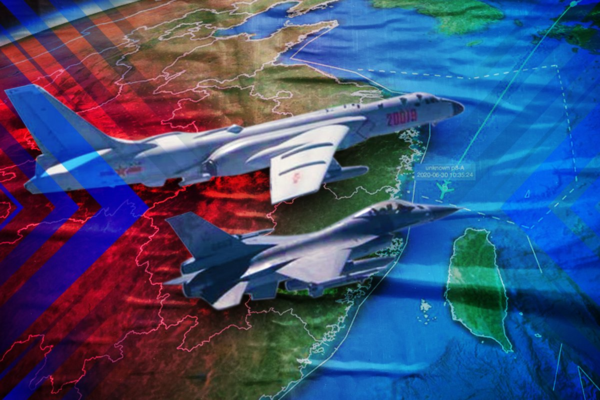 台灣連續兩天報告中共戰機大舉入侵,美國已派出羅斯福號航母戰鬥群進入南中國海。(大紀元製圖)