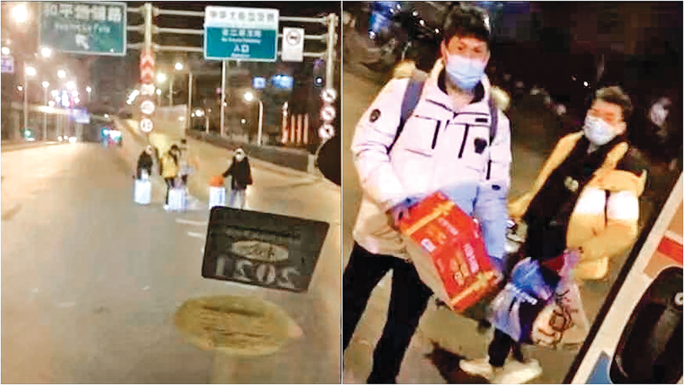 石家莊市封城封路封校,在零度以下的寒冬,無法回家、無處可去的學生被滯留街頭,最終獲志願者救助。(視頻截圖)