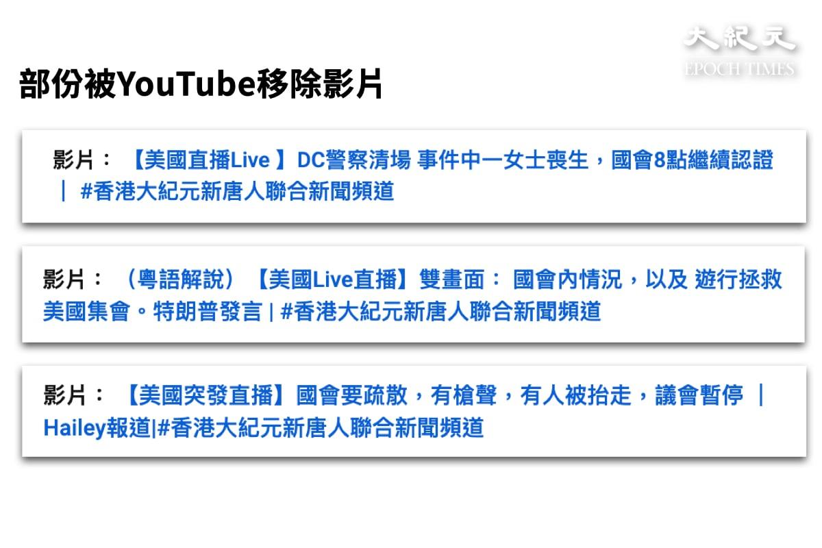 《香港大紀元新唐人聯合新聞頻道》於1月27日收到4個刪除影片通知,內容均為1月6日至7日記者在美國華盛頓DC直播「美國大選國會點票現場直播」的內容。(大紀元)