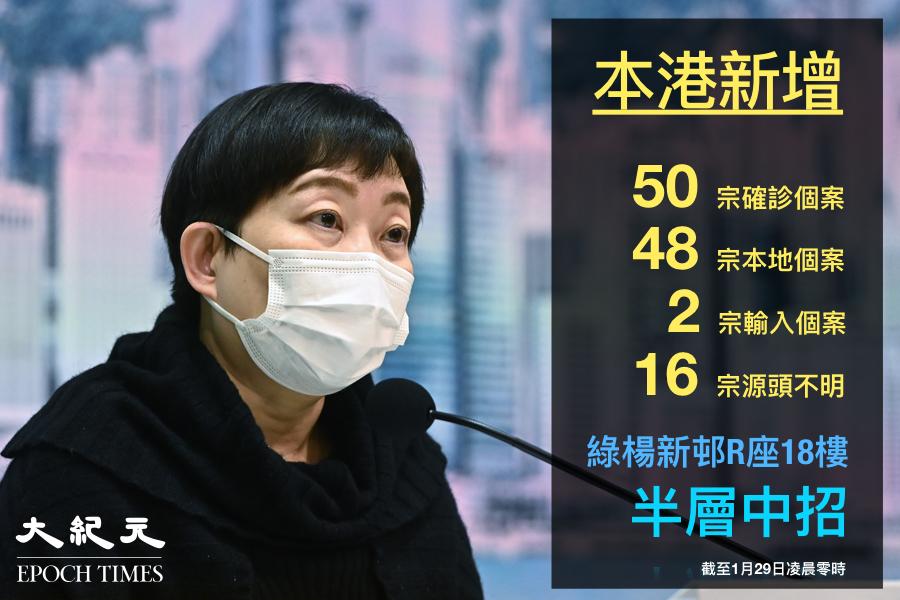 香港截至29日凌晨零時,新增50宗中共病毒(武漢肺炎)確診個案,累計至10,372宗確診病例。(大紀元製圖)