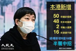 港增50宗確診個案 綠楊新邨R座18樓半層染疫