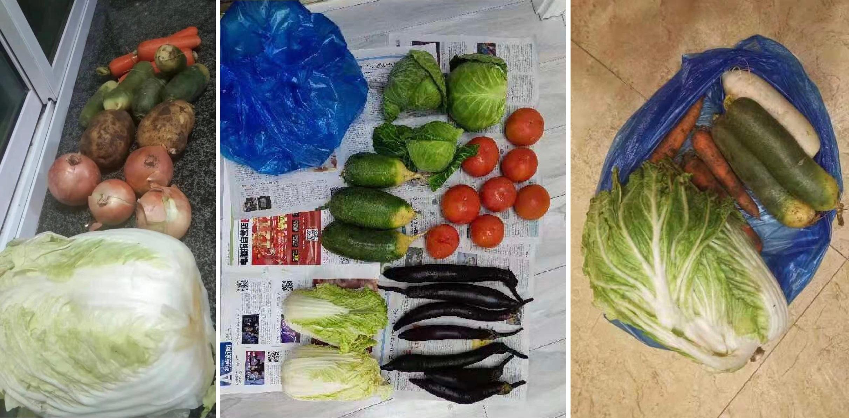 吉林通化志願者給居民派送的蔬菜。(受訪者提供/大紀元合成)