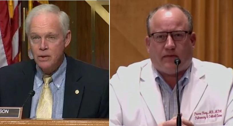參議員約翰遜(左)和科里醫生(右)出席聽證會。科里醫生在會上介紹了用廉價的口服藥物「伊維菌素」可治癒中共病毒患者,但影片被YouTube刪除。(影片截圖)