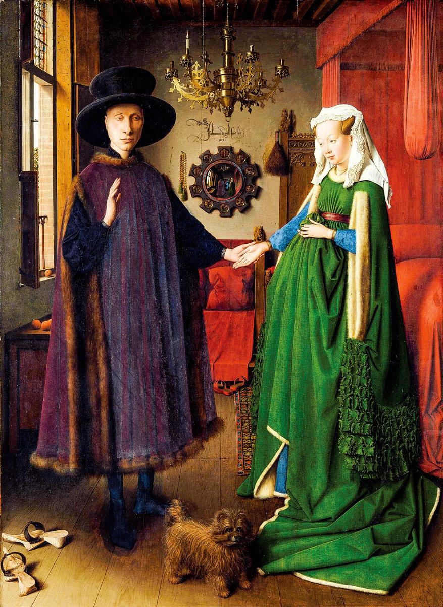 凡‧艾克(Jan van Eyck)1434年繪製的《阿爾諾非尼夫婦》(Portrait of Arnolfini and his Wife),倫敦英國國家美術館收藏。(公有領域)