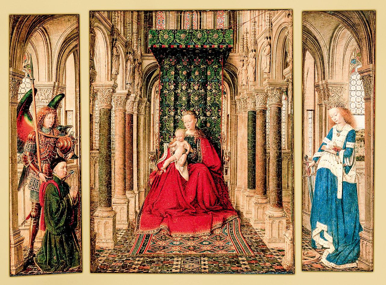 凡‧艾克(Jan van Eyck)1437年作品《寶座上的聖母和聖嬰》(Small Triptych),收藏於德國德勒斯登繪畫陳列館。 (公有領域)