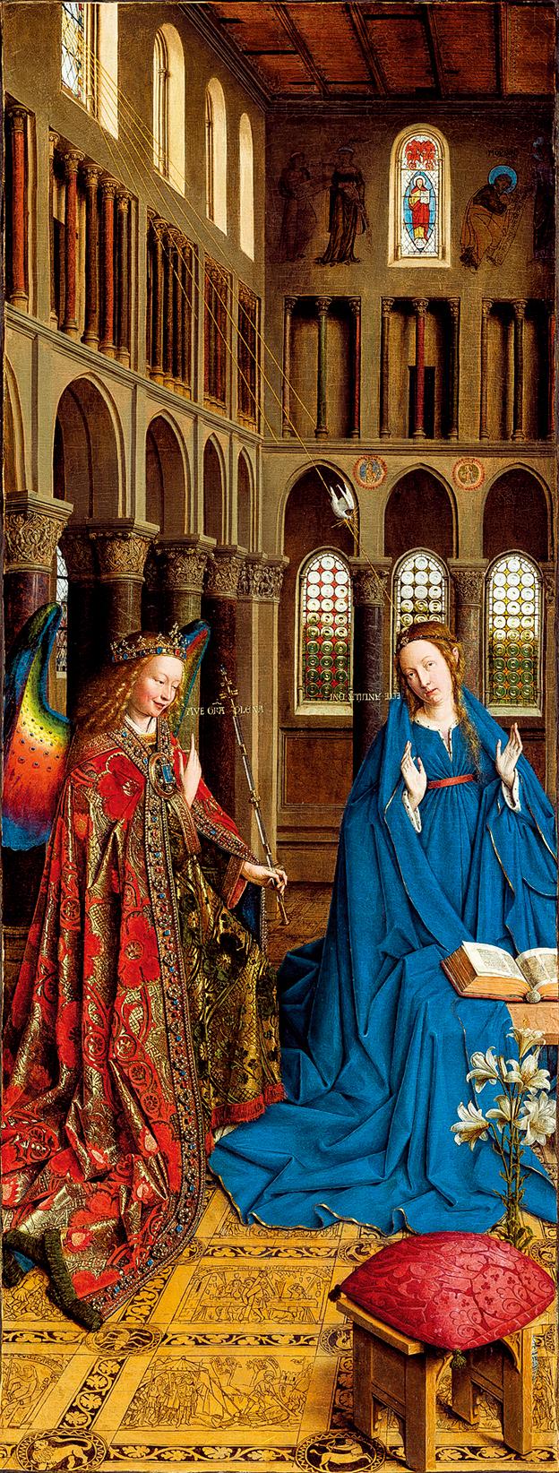 凡‧艾克(Jan van Eyck)1434~1436年畫的《天使報喜》 Annunciation,華盛頓國家美術館收藏。(公有領域)