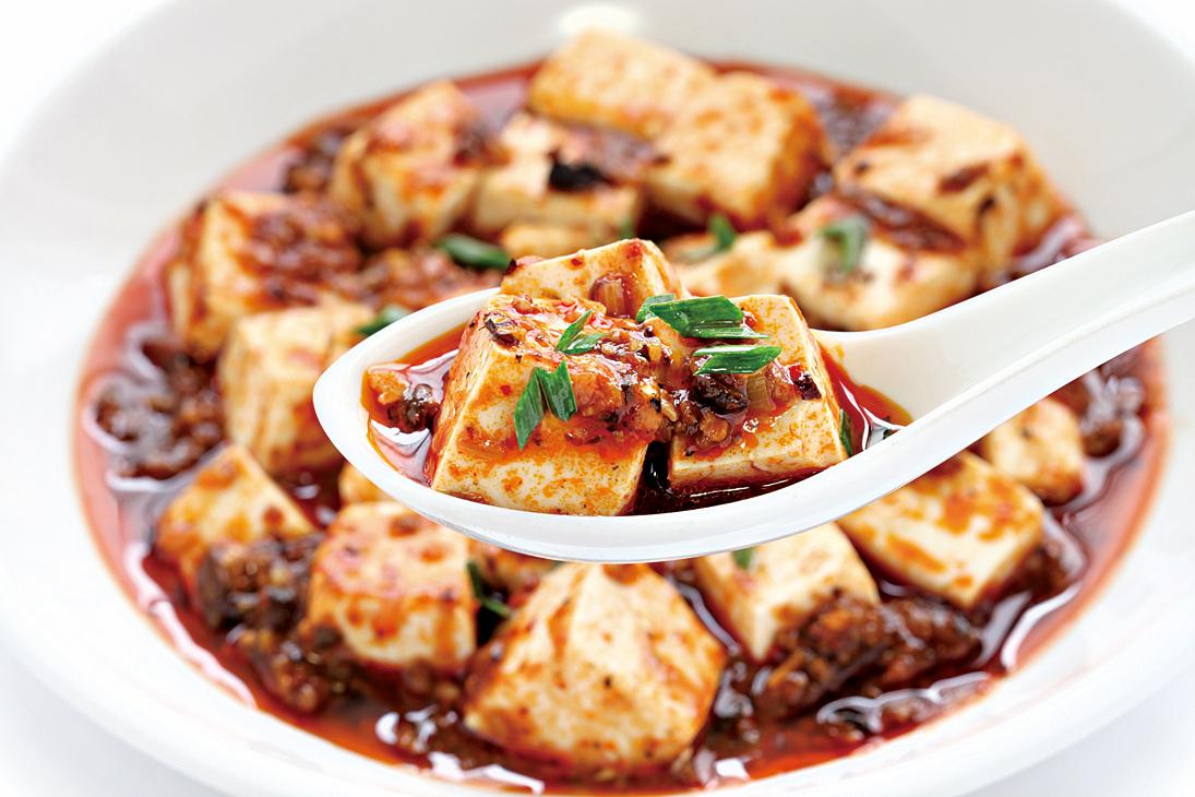 豆腐相傳為西漢淮南王劉安所發明,圖為四川名菜麻婆豆腐。