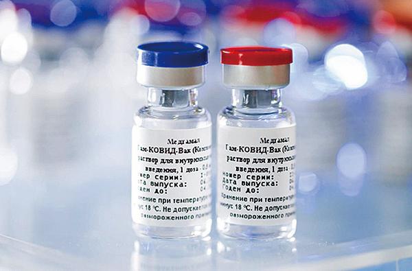 英國《刺針》雜誌研究報告,顯示俄羅斯研發的一共兩劑「衛星五號」(Sputnik-V)疫苗臨床試驗的保護效力達91.6%。(中央社)