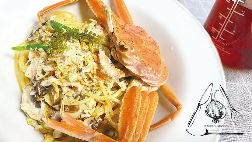 原隻日本香箱蟹蟹肉忌廉意粉。