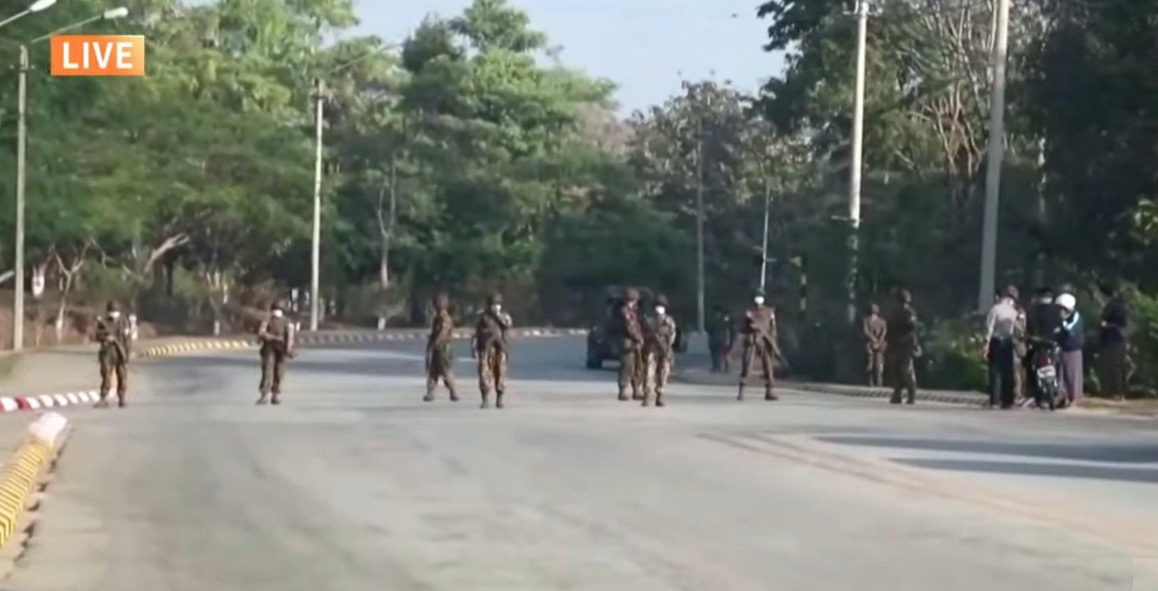 緬甸2月1日驚傳政變,並宣布實施為期一年的緊急狀態。(希望之聲視頻截圖)