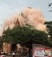 組圖:緬甸強震 震落知名觀光景點佛塔