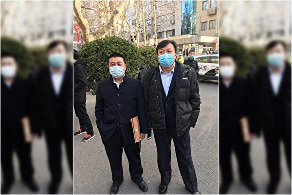 1月29日上午,河南省司法廳非法舉行聽證會。左為任全牛,右為包龍軍律師。(知情人提供)
