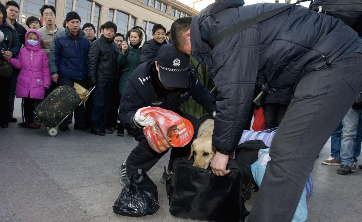 圖為2010年1月31日北京火車站的警察在檢查旅客的行李。(AFP/AFP via Getty Images)