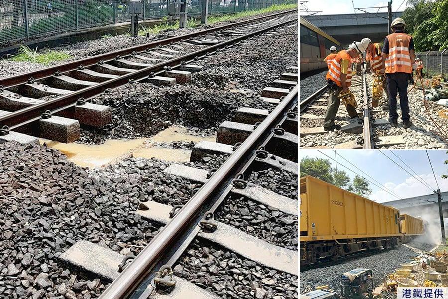 港鐵東鐵線,今早由於受水管爆裂造成路軌水浸影響,列車服務一度受阻。經港鐵搶修後,該路段已被修復,東鐵線服務陸續回復正常。(港鐵Facebook)