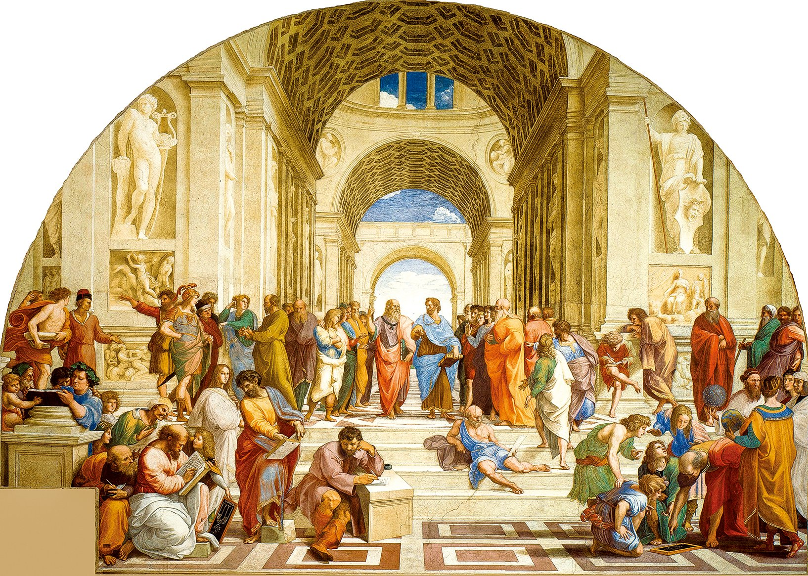 拉斐爾聖齊奧(Raphael,1483~1520)《雅典學院》(The School of Athens),1509年,收藏於梵諦岡宮簽字大廳。(公有領域)