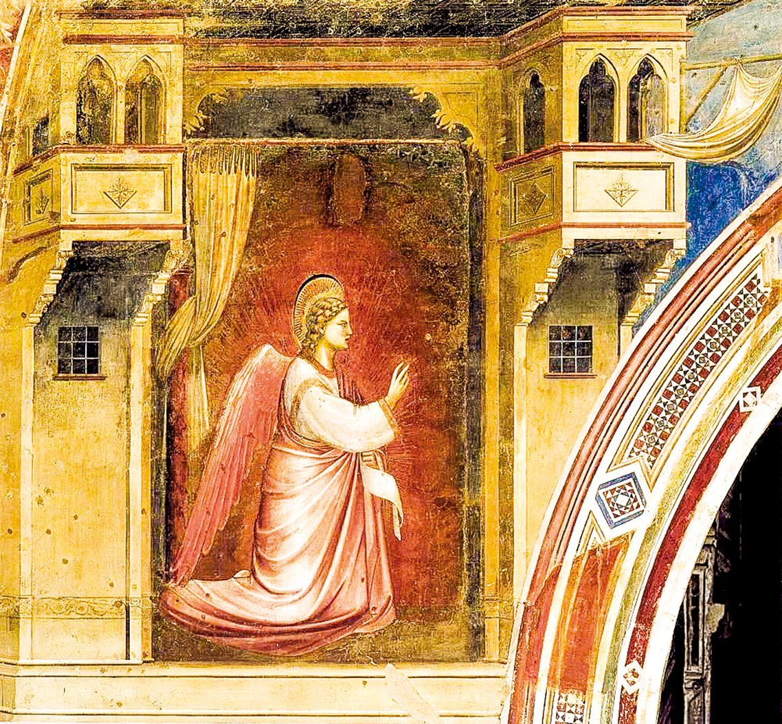 意大利畫家喬托(Giotto,1267~1337年)在帕多瓦競技場教堂(Scrovegni教堂)中的壁畫《 天使報喜》中上帝送來的天使加百列。(公有領域)