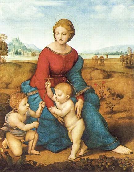 拉斐爾聖齊奧 (Raphael,1483~1520年)1505年作品《草地上的聖母》(Madonna of the Meadow),收藏於奧地利維也納藝術史博物館。(公有領域)