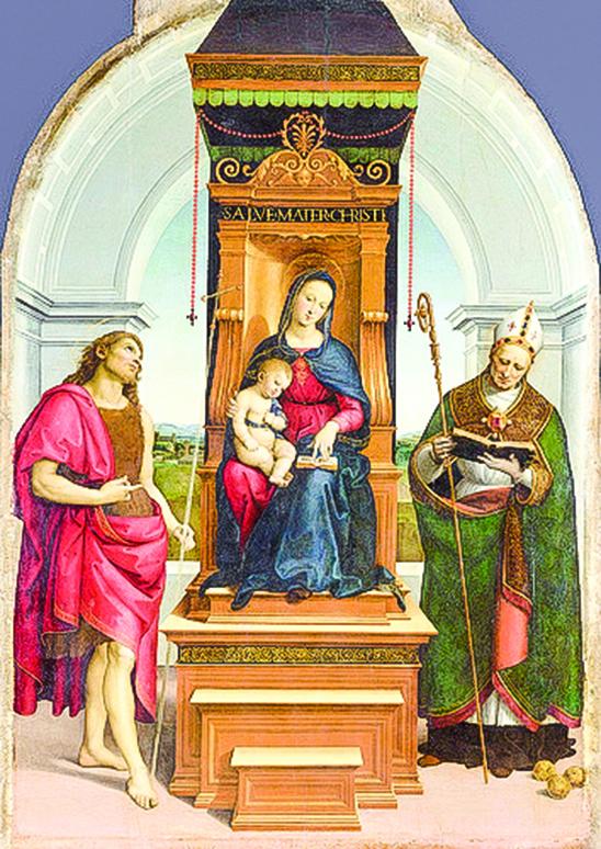 拉斐爾聖齊奧 (1483~1520年)1505年作品《安西帝聖母》(The Ansidei Madonna),收藏於英國國家美術館。