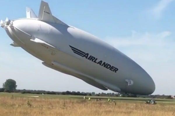 巨無霸飛船倫敦二次試飛 撞電線桿掉下來
