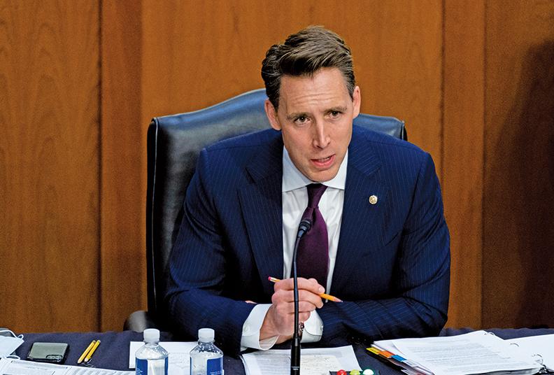 共和黨參議員喬什霍利(Josh Hawley)於2月9日提出「世界衛生組織究責法案」,要求世衛及其領導人譚德塞要為幫中共掩蓋有關新冠病毒信息擔責。(Bill Clark/POOL/AFP)