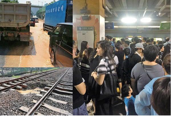 (左上)上水新運路一條東江水水管昨日爆裂,粉嶺公路往九龍方向近掃管埔路出現水浸,快線一度需要封閉。(香港突發事故報料區公開群組) (左下)港鐵上水站至粉嶺站之間有約20-30米用作承托路軌的道碴被水沖走,影響行車安全,東鐵服務受阻4個多小時。(港鐵facebook) (右)東鐵服務受阻期間,多個車站月台都擠滿候車乘客。圖為上水站候車的乘客。(香港突發事故報料區公開群組)