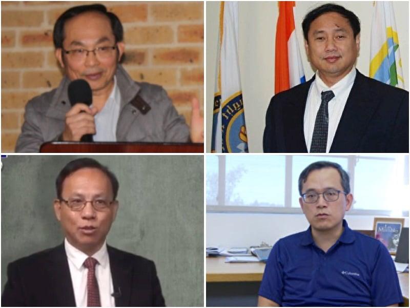 海外華裔學者向法輪功團體和李洪志大師恭祝新年好。(從左至右從上之下,馮崇義、王軍濤、秦晉、俞偉雄,大紀元合成圖)