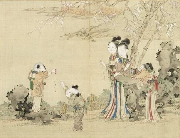 古時人們將竹子放入火中,目的是要驅逐惡鬼。圖為昇平樂事圖冊之放鞭炮。台北國立故宮博物院藏。 (公有領域)