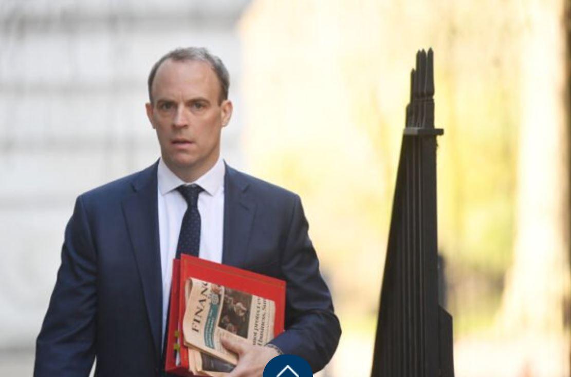 英國外相藍韜文(Dominic Raab)2月12日在推特上批評中共封殺BBC是剝奪媒體自由,令人無法接受。(Peter Summers/Getty Images)