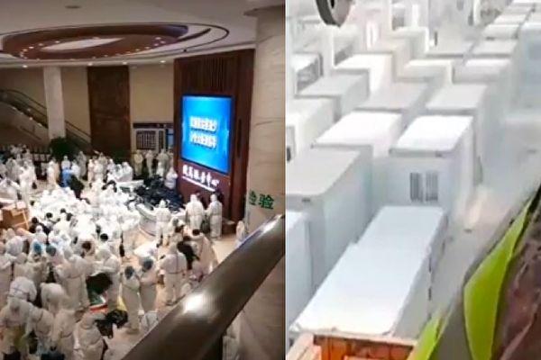 吉林省通化市從1月25日起進行第三輪全員核酸檢測。圖為公主嶺市核酸檢測(左)及方艙醫院(右)。(影片截圖合成)