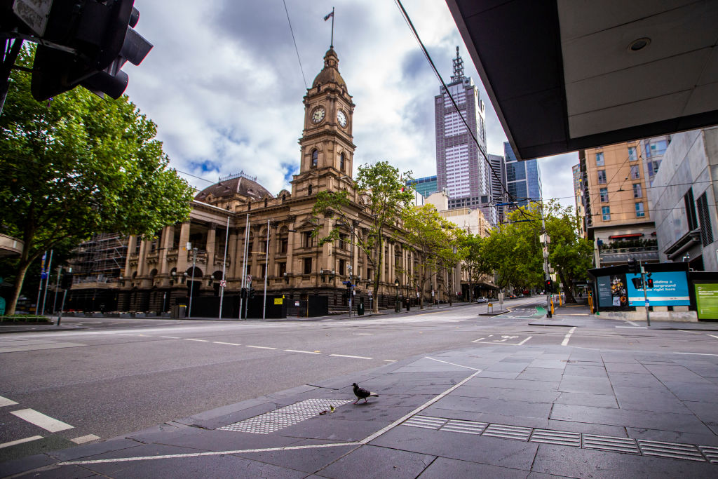 澳洲維州農曆新年、情人節突遇封城,花店餐廳被殺個措手不及。圖為墨爾本市中心。(Wayne Taylor/Getty Images)
