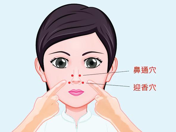 迎香穴、鼻通穴位置。(台中慈濟醫院中醫部主任陳建仲提供)