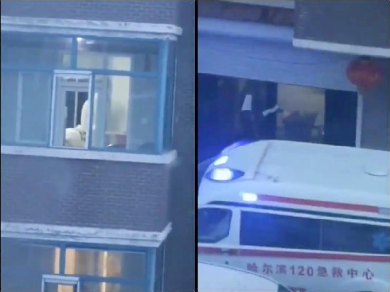 2月13日,大年初二,呼蘭怡園小區再有確診病例被救護車120轉運帶走。(影片截圖)