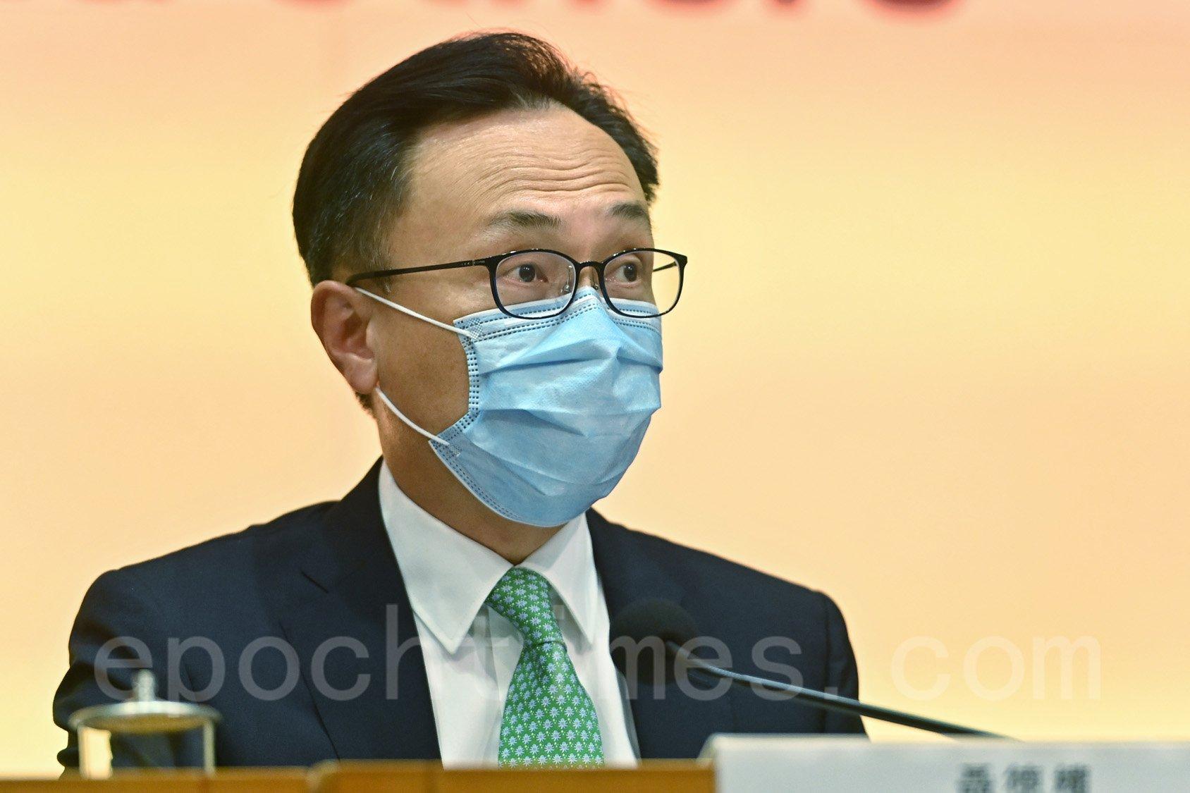 聶德權表示,科興首批的100萬劑疫苗即將於明日(19日)到港,當局將按優先組別安排接種。(宋碧龍/大紀元)