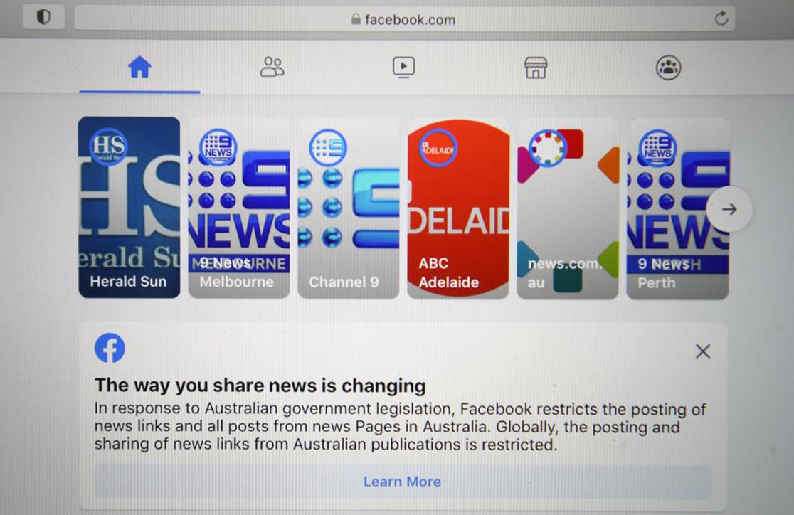 Facebook突然封殺在澳洲的新聞內容,澳洲的新聞媒體及一些政府部門或機構, 2月18日的FB頁面內容全被清空。(Getty Images)