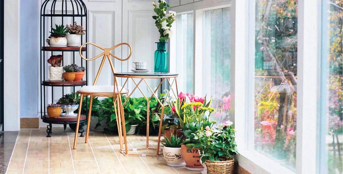 沿著牆壁擺放花盆,不會阻礙日常通行。