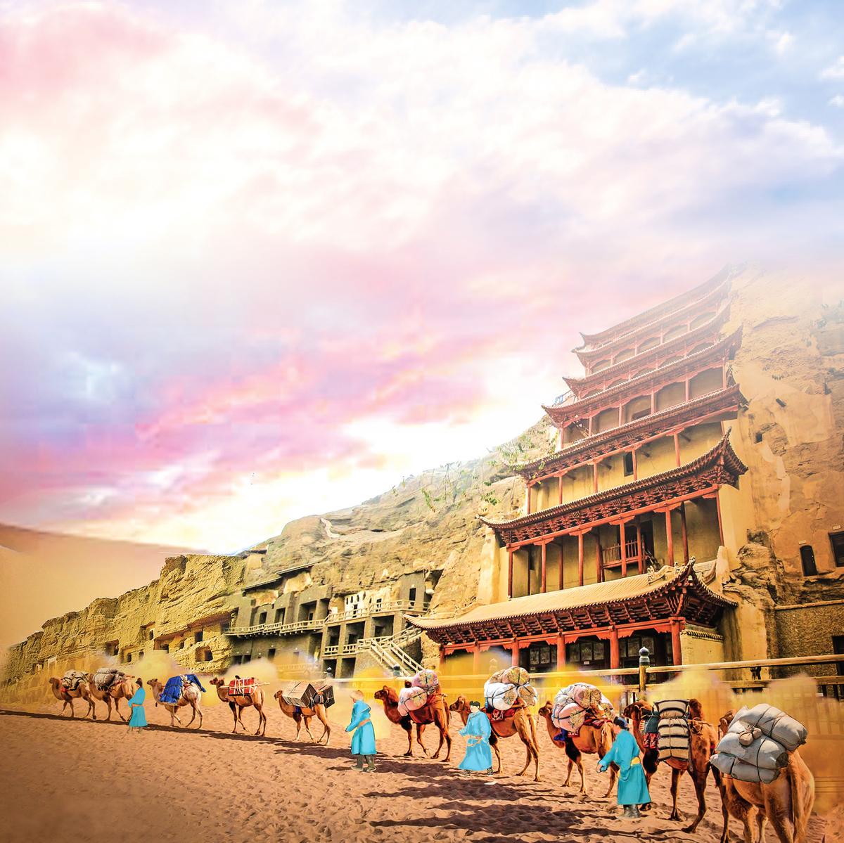 絲綢之路,東起漢朝長安、西至羅馬王城,把這片土地上最強大的兩大帝國連通起來。(大紀元製圖)