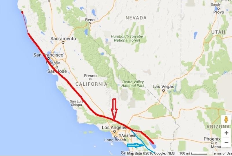 聖安德烈斯斷層(San Andreas Fault,紅色箭頭所示的紅色線)與聖哈辛托斷層線(San Jacinto fault,藍色箭頭所示的藍色線)地理走行方向,以及周圍的大都市示意圖。(谷歌地圖擷圖後繪製)